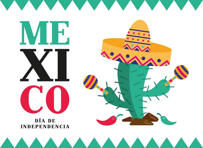 Unabhängigkeitstag der Mexiko-Feier mit Kaktus vektor
