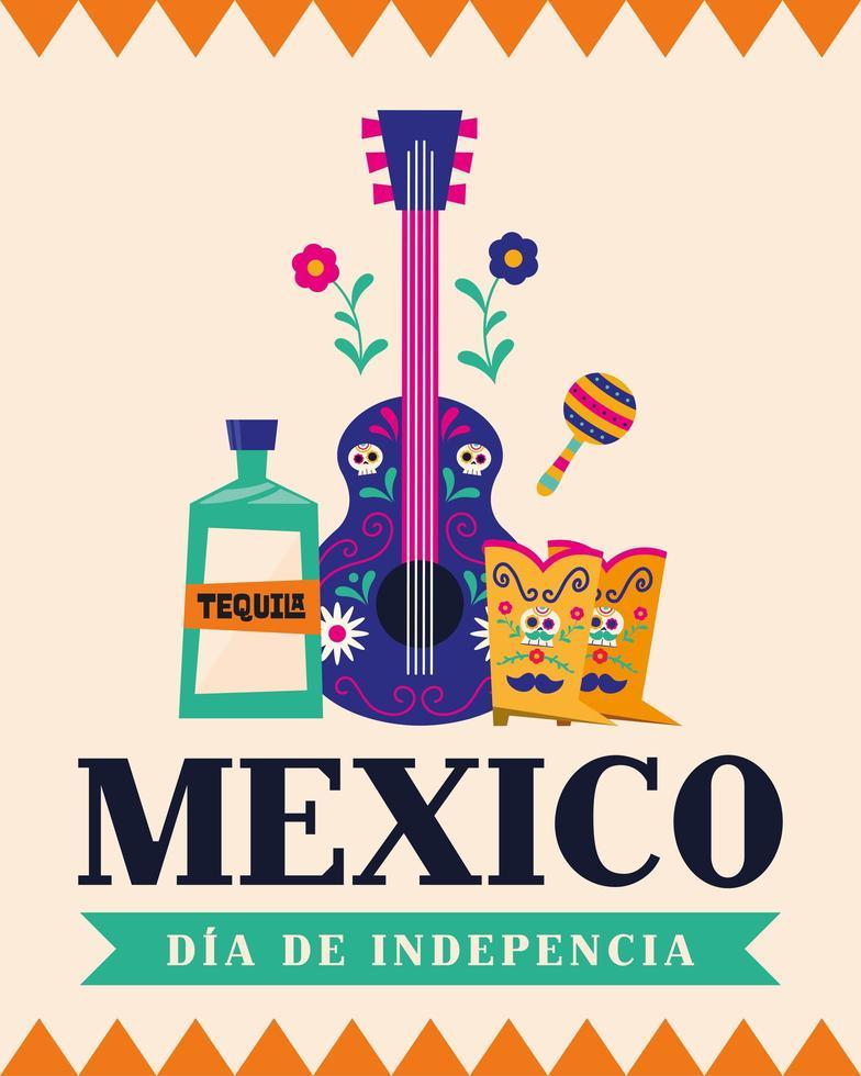 Unabhängigkeitstag der mexikanischen Feier mit Tequila, Gitarre und Stiefeln vektor