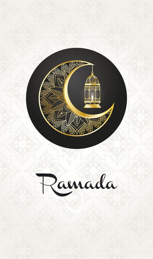 gyllene månen och lanter hängande ramadan kareem vektor