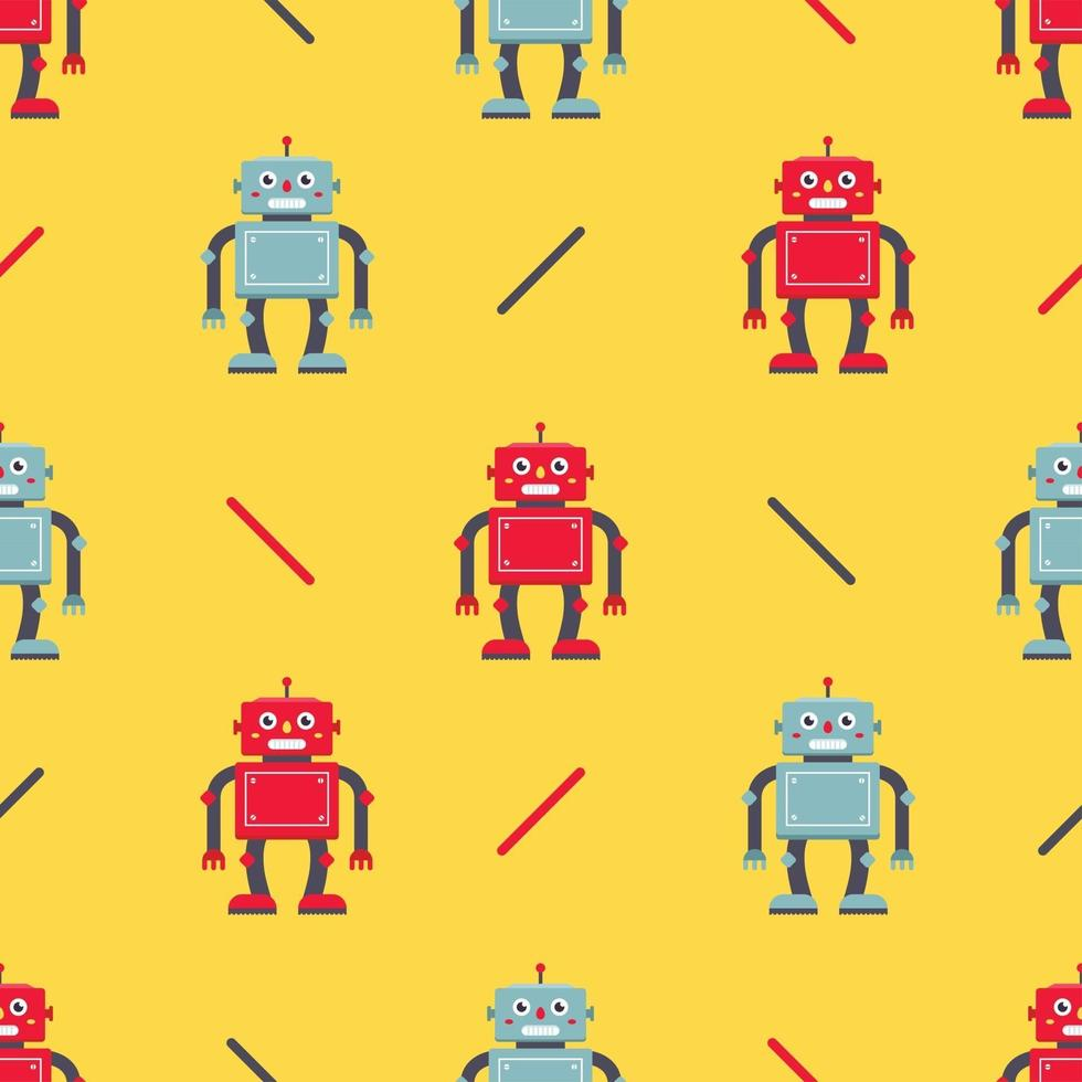 niedliches Robotermuster auf gelbem Hintergrund. Kindercharakter für den Stoff und die Verpackung von Kinderspielzeug. Vektorillustration vektor