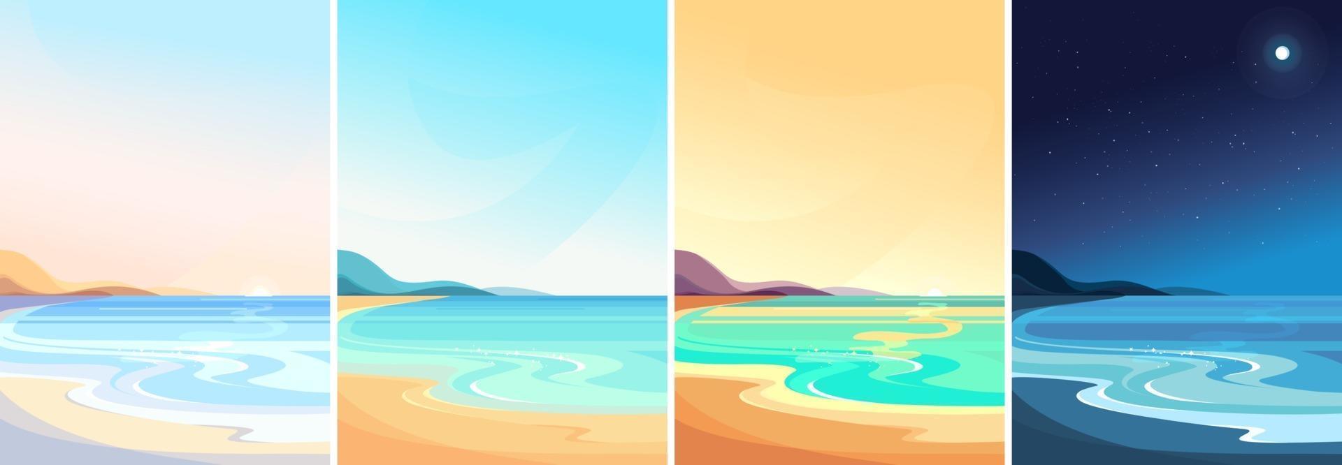 stranden vid olika tider på dagen vektor
