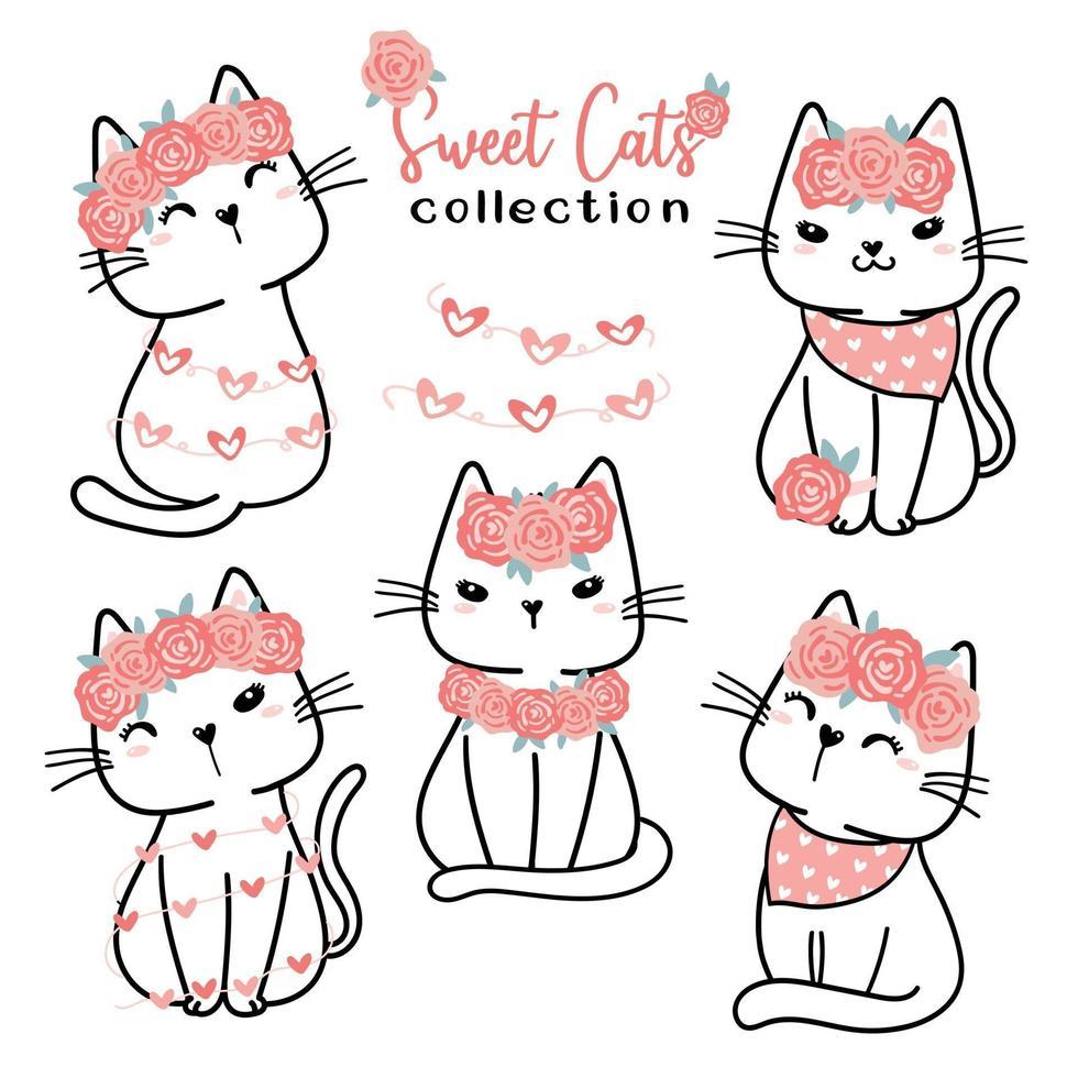 söt valentin katt samling, tecknad klotter platt vektor clipart för alla hjärtans kärleksdag, söt vit katt med rosa ros blomma
