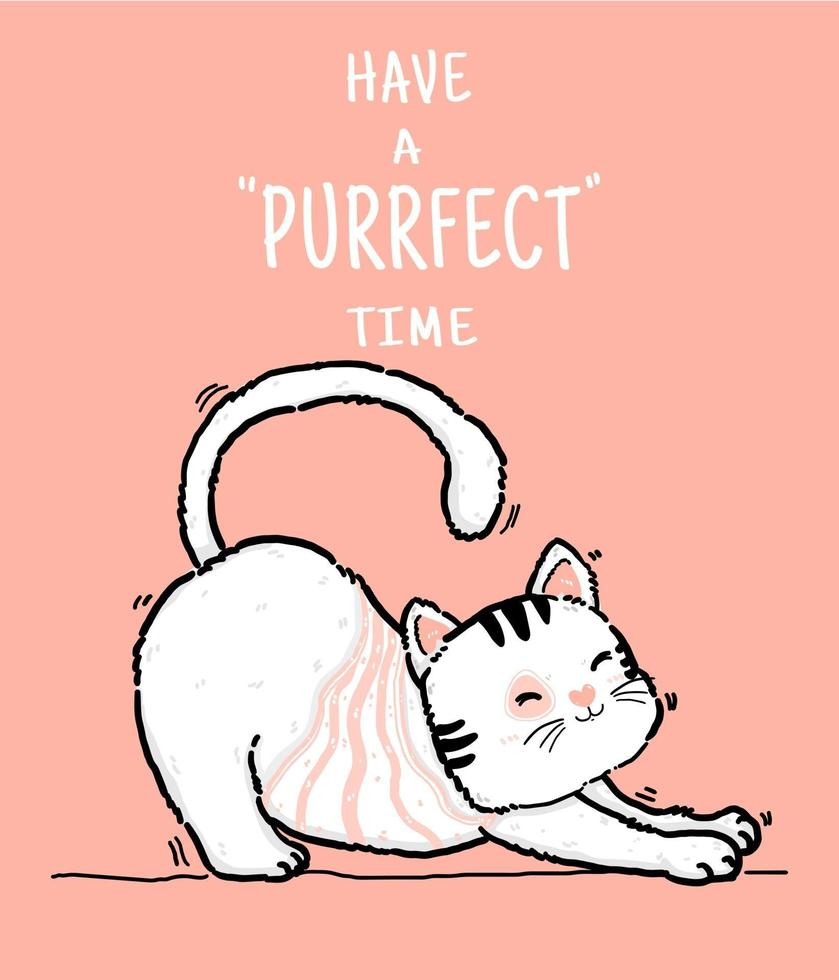 söt doodle glad lekfull lat fluffig kiitty vit och rosa katt har perfekt tid, disposition hand rita platt vektorillustration vektor