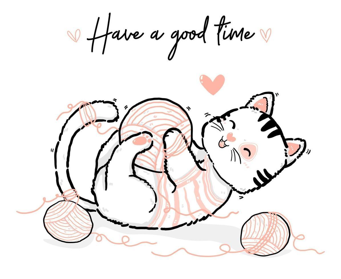 söt klotter glad lekfull fluffig kiitty vit och rosa katt som har bra tid med bomullsboll, disposition hand rita platt vektorillustration vektor
