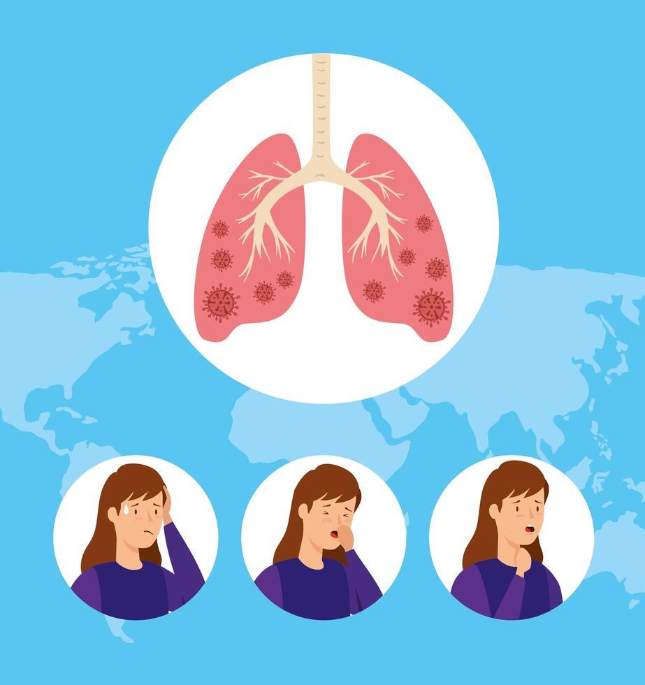 bilder av kvinnor med covid 19 infekterade lungor vektor