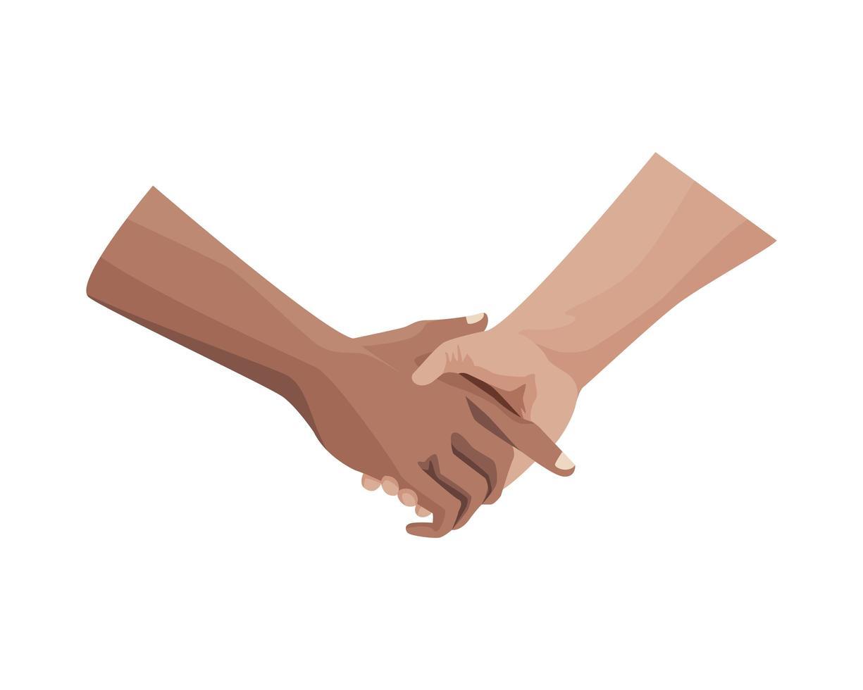 interracial Handschlag, Geste der menschlichen Freundschaft vektor