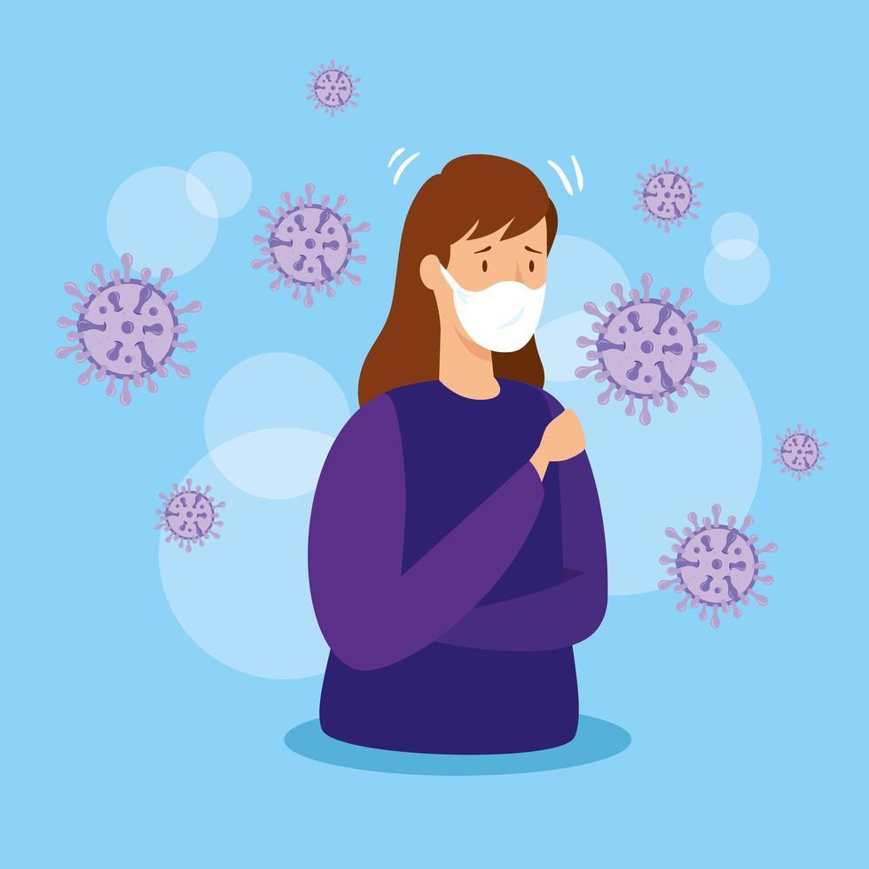 kvinna med covid 19 sjukdom och andningsskydd vektor