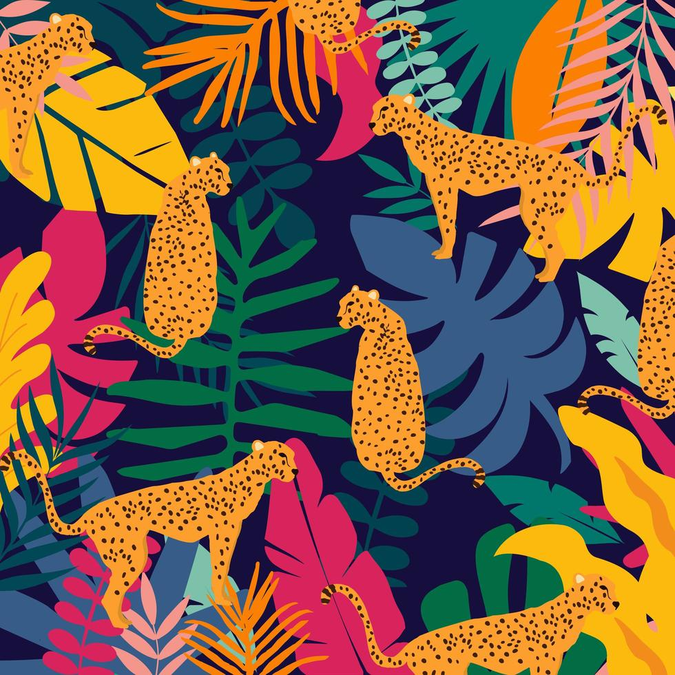 leoparder och tropiska blad affisch bakgrund vektorillustration. trendiga djurlivsmönster vektor