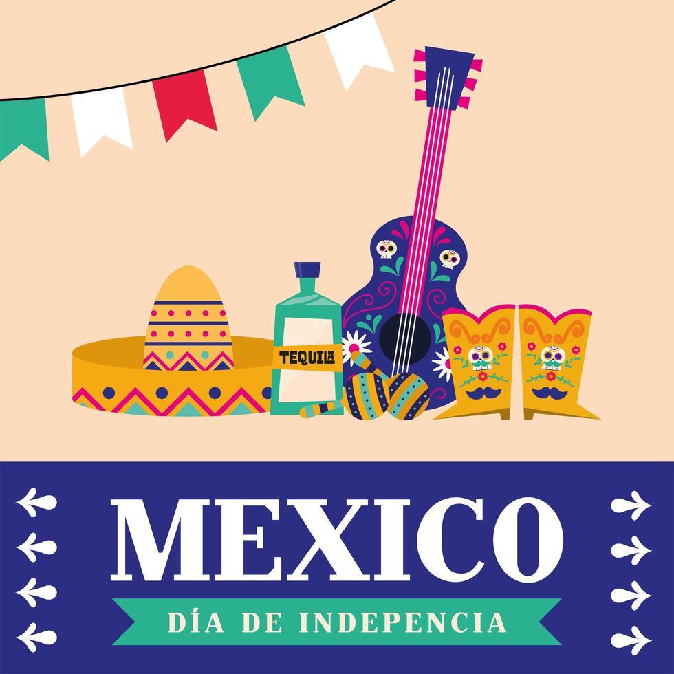 Unabhängigkeitstag der mexikanischen Feier mit Gitarre vektor
