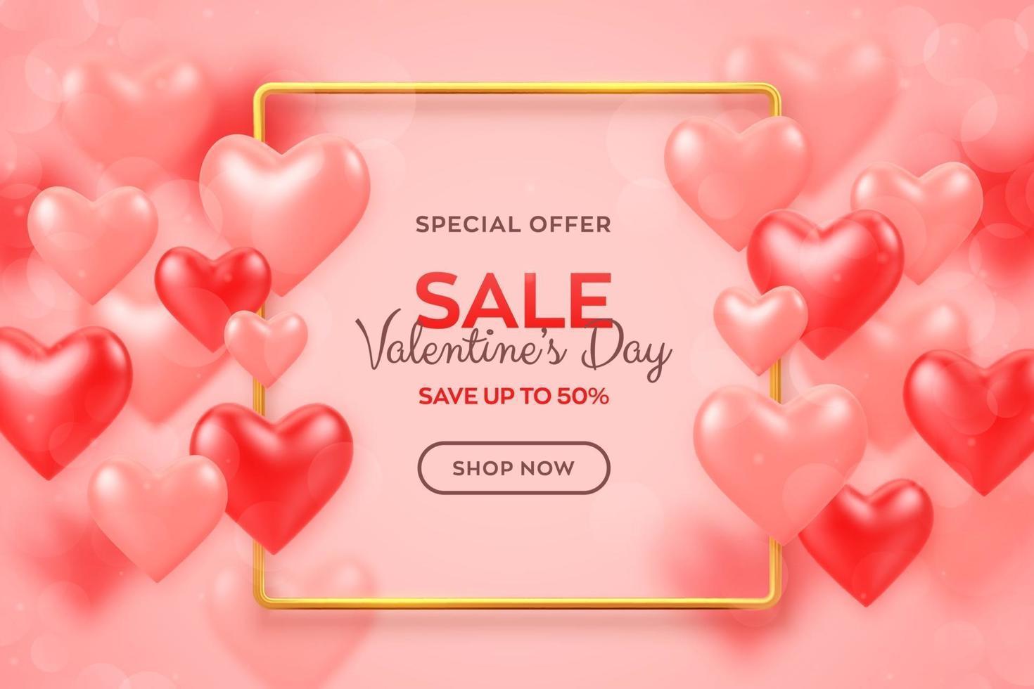 glad alla hjärtans dag. Alla hjärtans dag försäljning banner med röda och rosa ballonger 3d hjärtan bakgrund med metalliska gyllene ram. flygblad, inbjudan, affisch, broschyr, gratulationskort. vektor