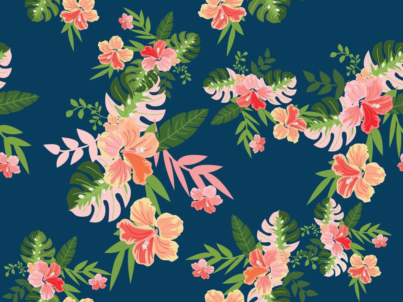 vintage tropisk blomma sömlösa mönster vektor
