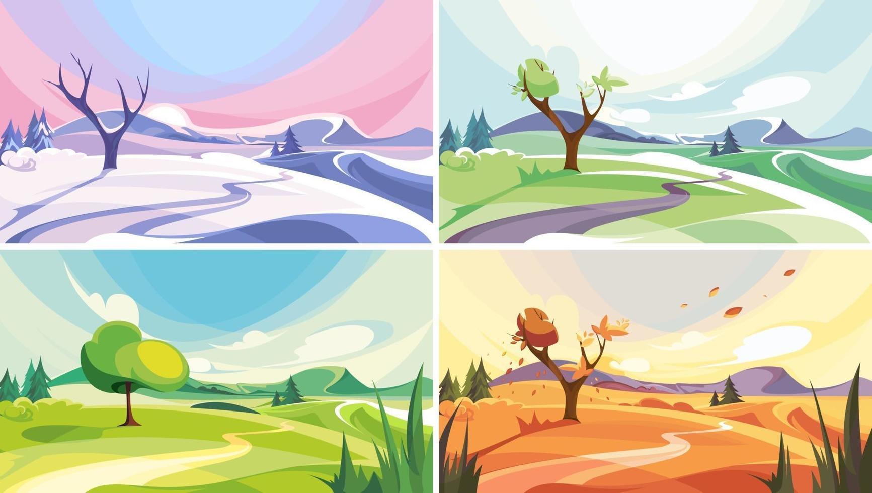 Naturlandschaft zu verschiedenen Jahreszeiten eingestellt vektor