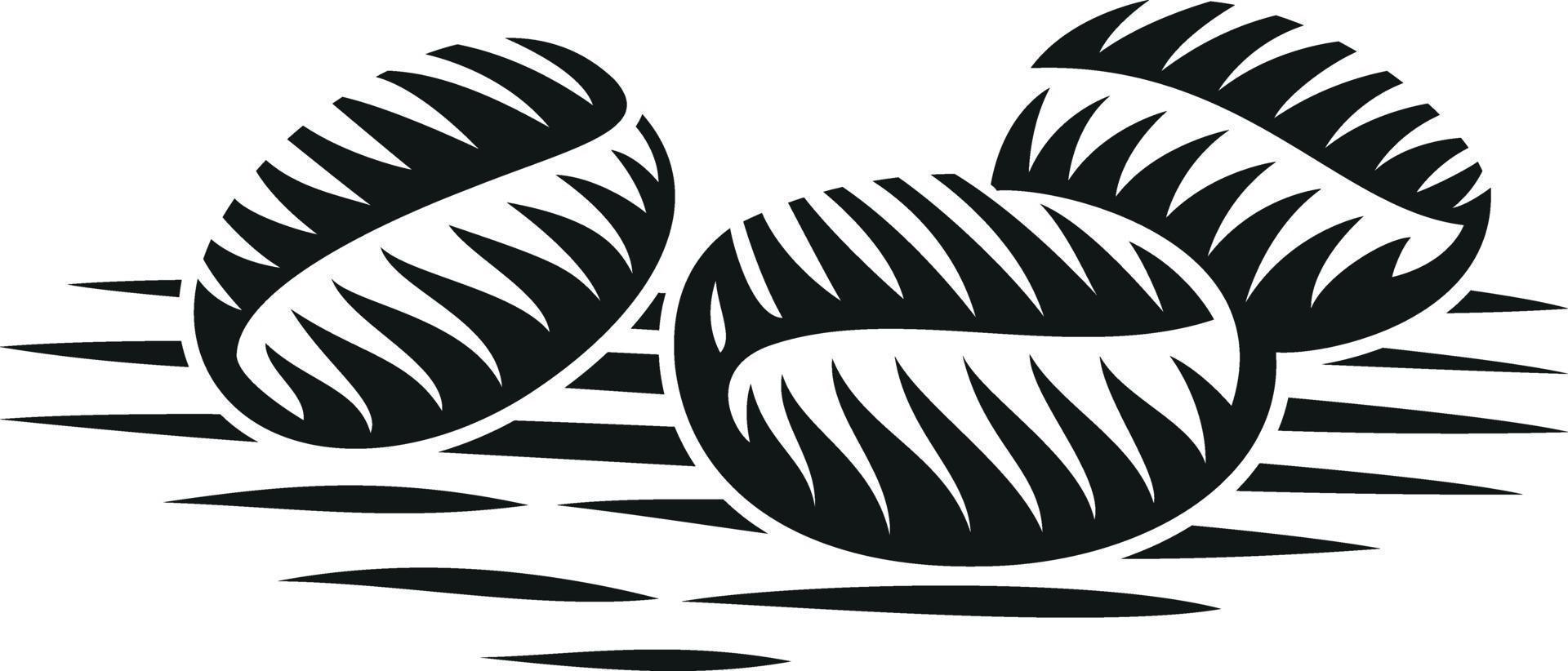 svartvit vektorillustration av kaffebönor i gravyrstil vektor