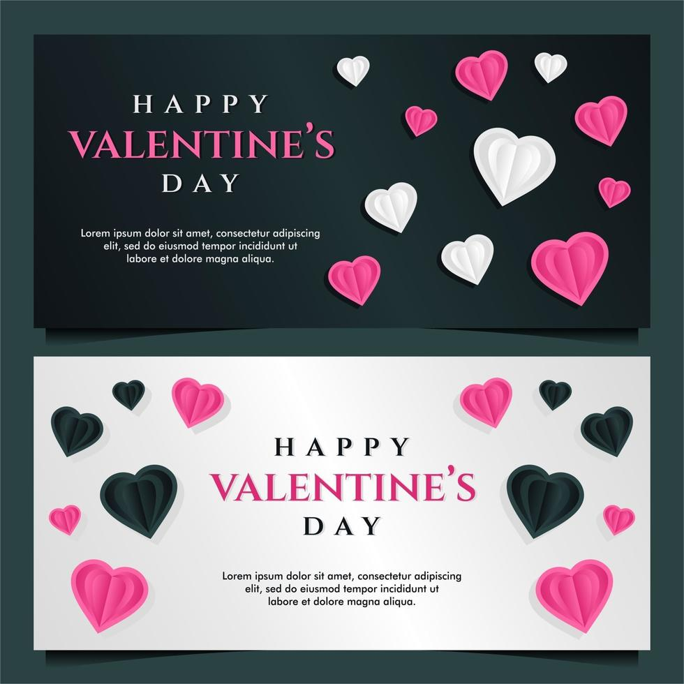 glad Alla hjärtans dag banner mall med mörk och grå bakgrund vektor