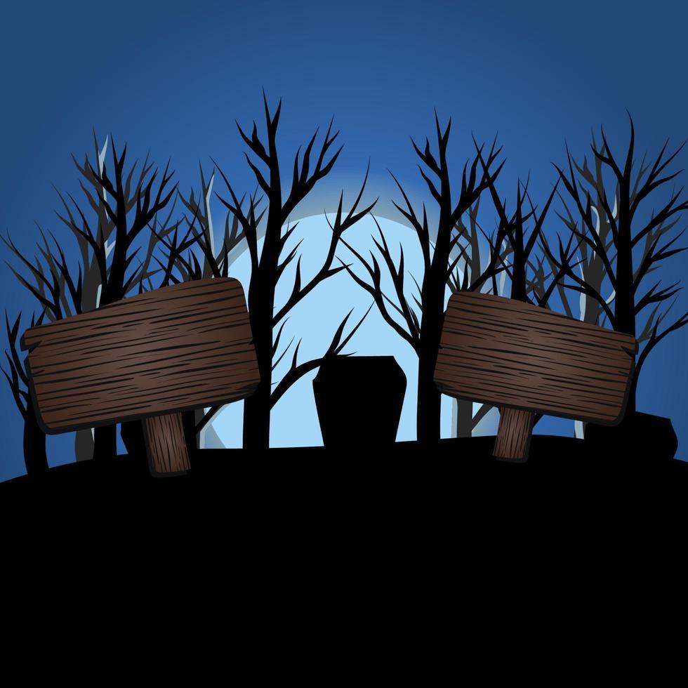 halloween mörkblå måne ljusdesign med skyltar vektor