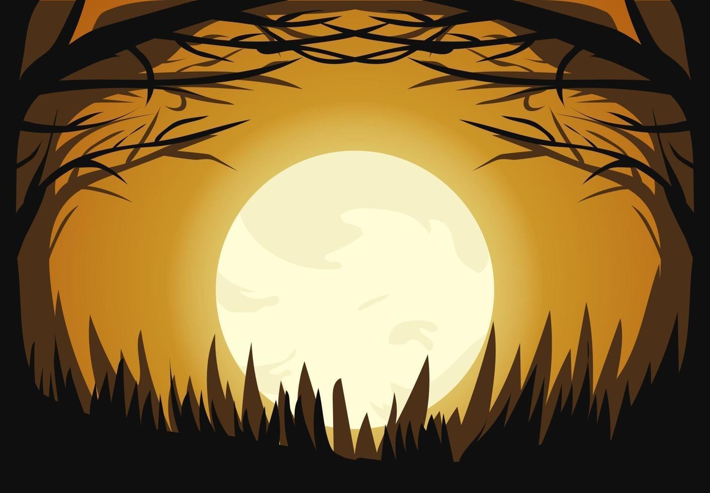 Halloween dunklen Mondlicht Wald Design vektor