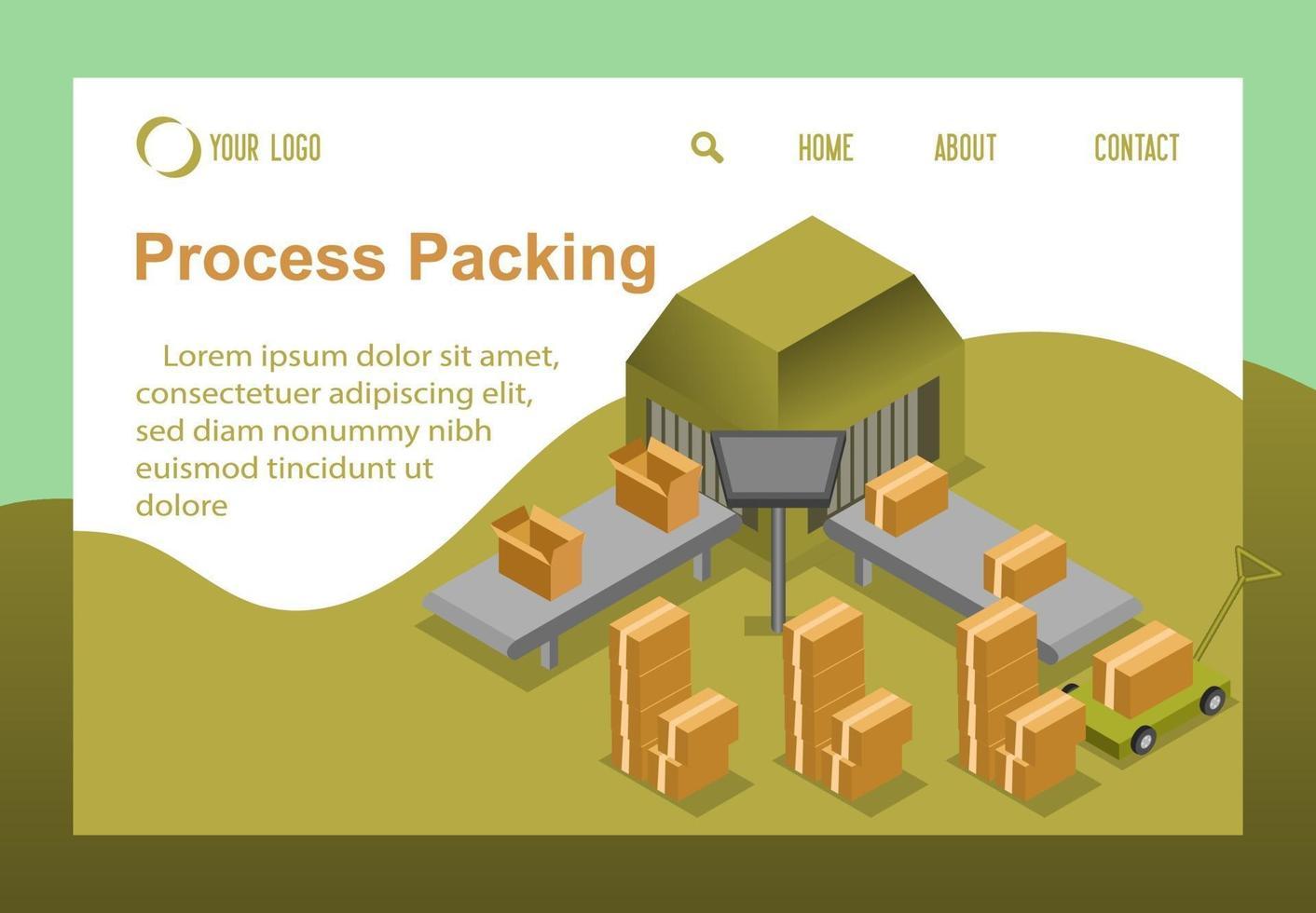 Vektor isometrische Prozesskartonverpackung, Produktherstellungsfabrikkonzept