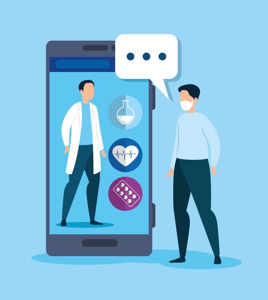 Online-Medizintechnik mit Smartphone und krankem Mann vektor