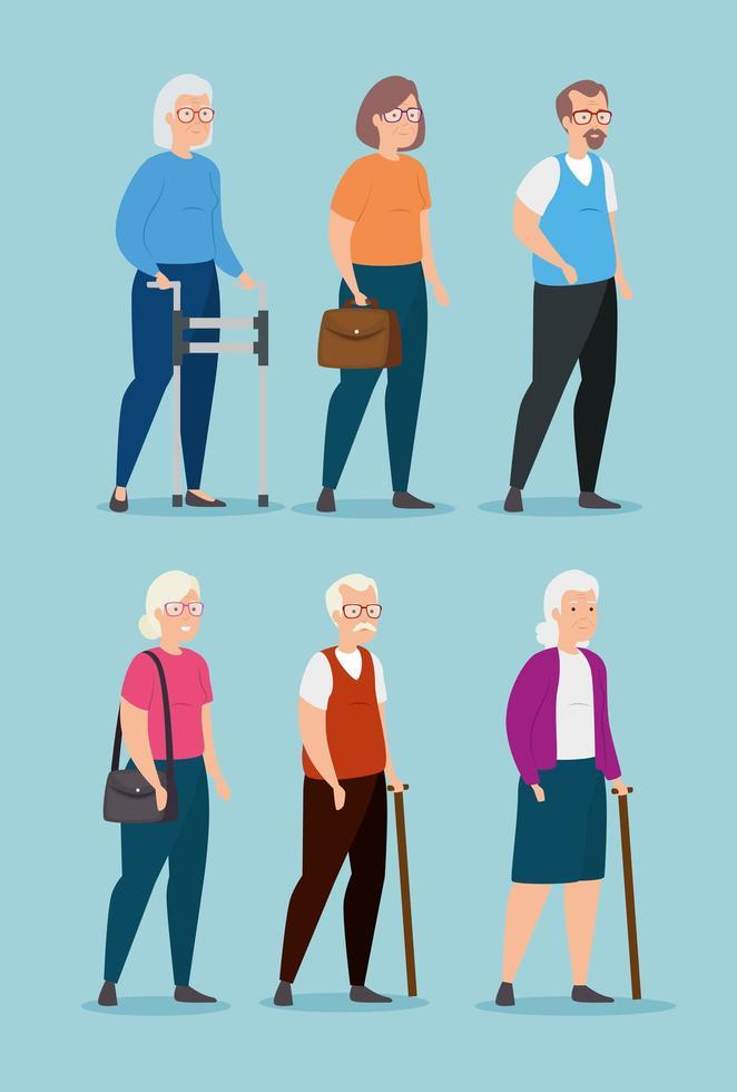 grupp av gamla människor avatar karaktär vektor