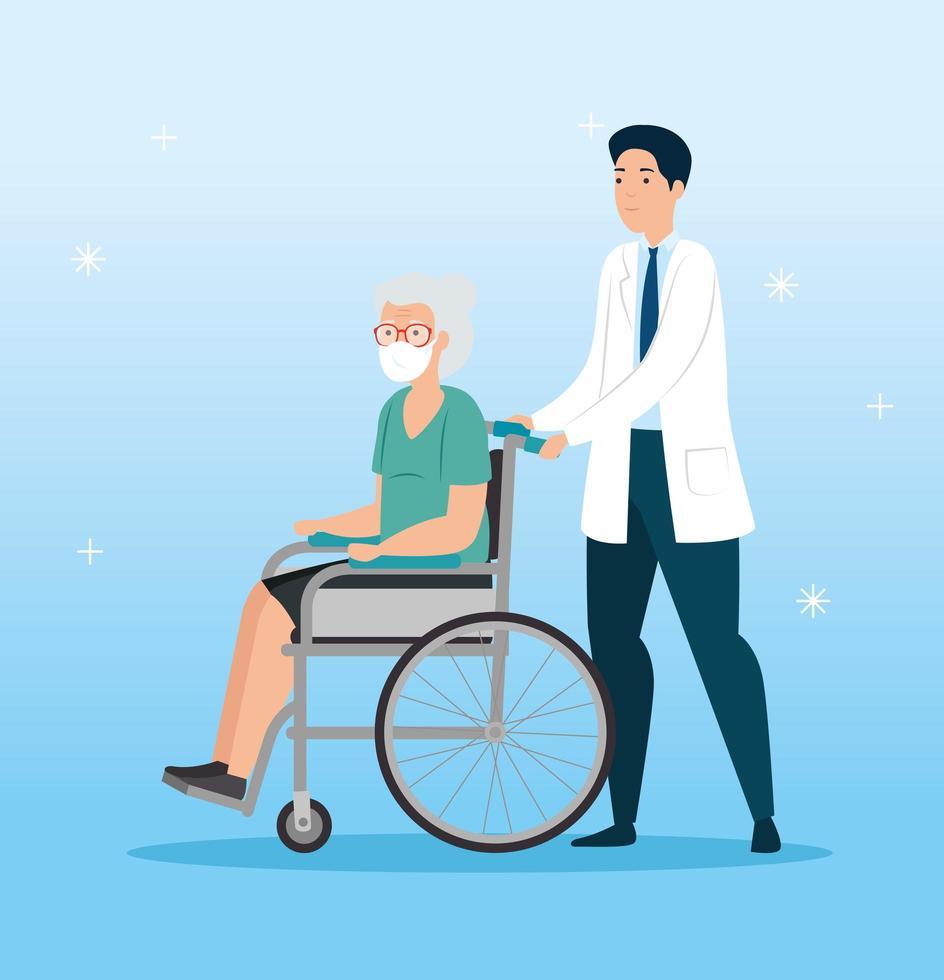gammal kvinna i rullstol och läkare vektor