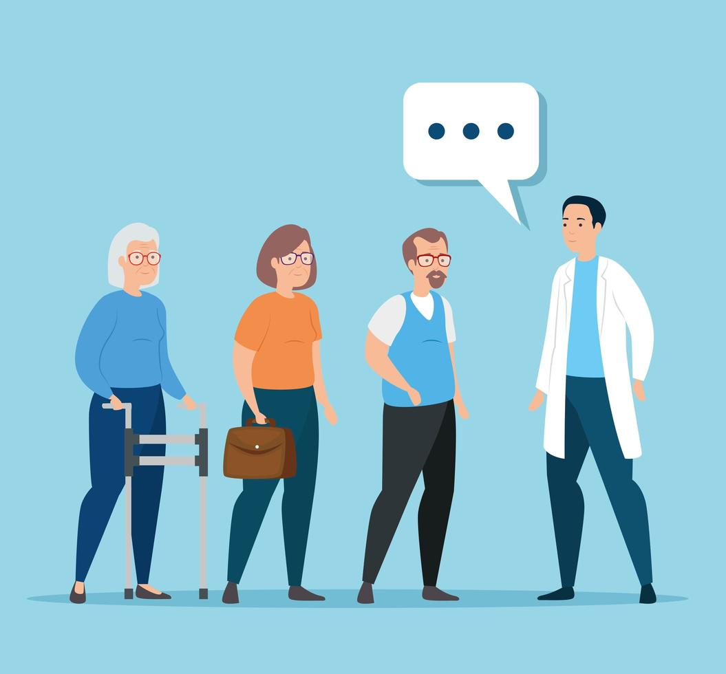 gamla människor som pratar med en läkare vektor
