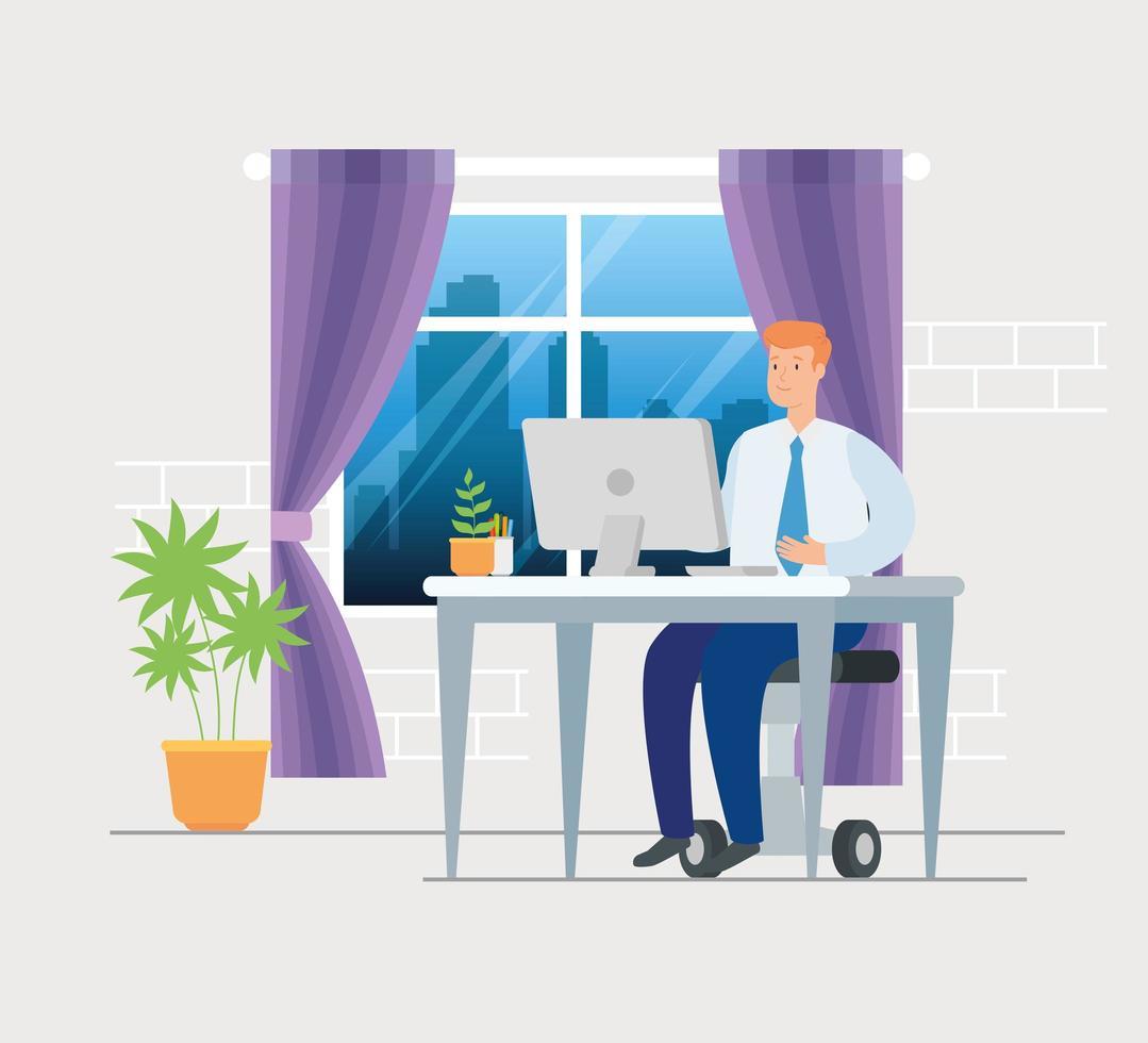 Szene des Geschäftsmannes, der von zu Hause aus arbeitet vektor
