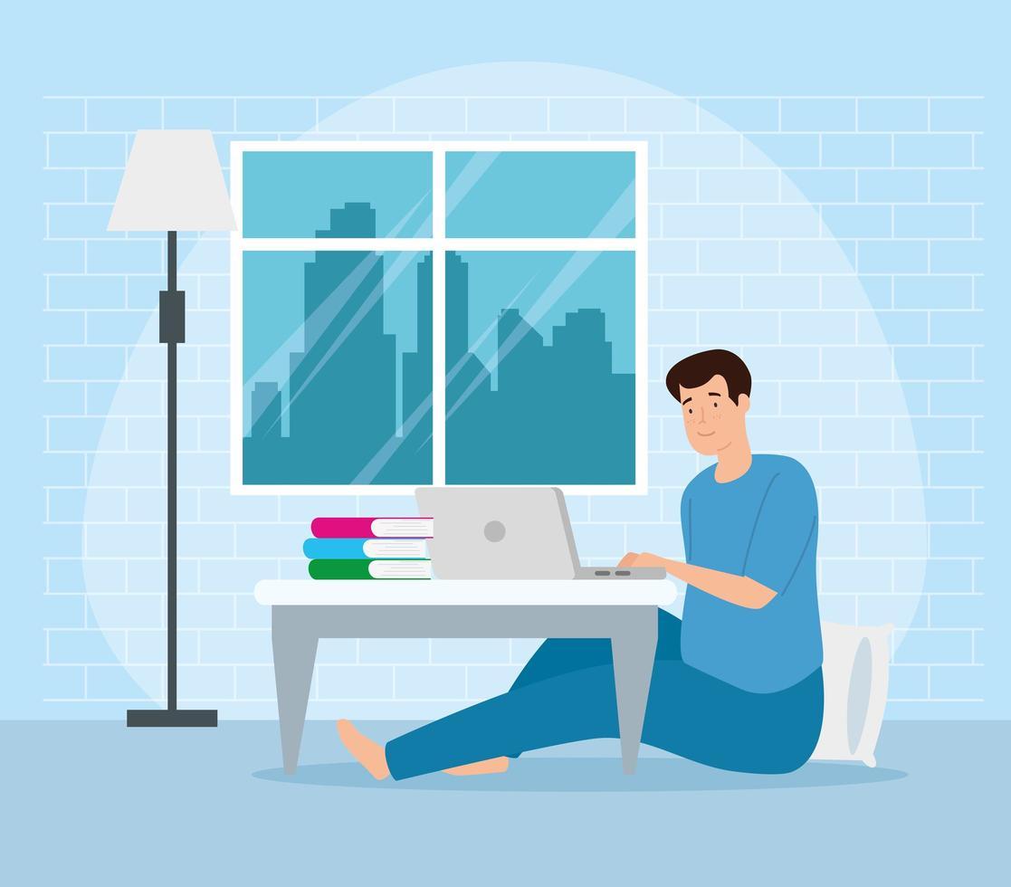 Kampagne bleiben zu Hause mit Mann von zu Hause aus arbeiten vektor