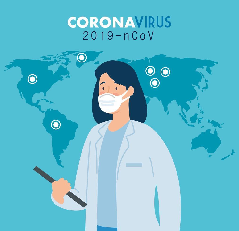 kvinnlig läkare för förebyggande av koronavirus vektor