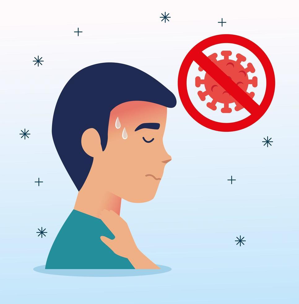 sjuk man med ont i halsen och koronavirus vektor