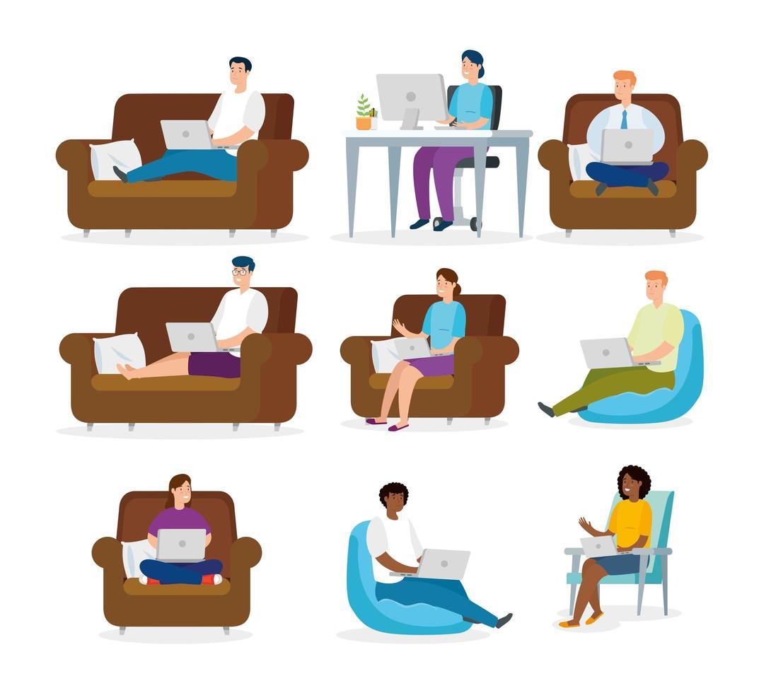 Gruppe von Menschen zu Hause arbeiten vektor