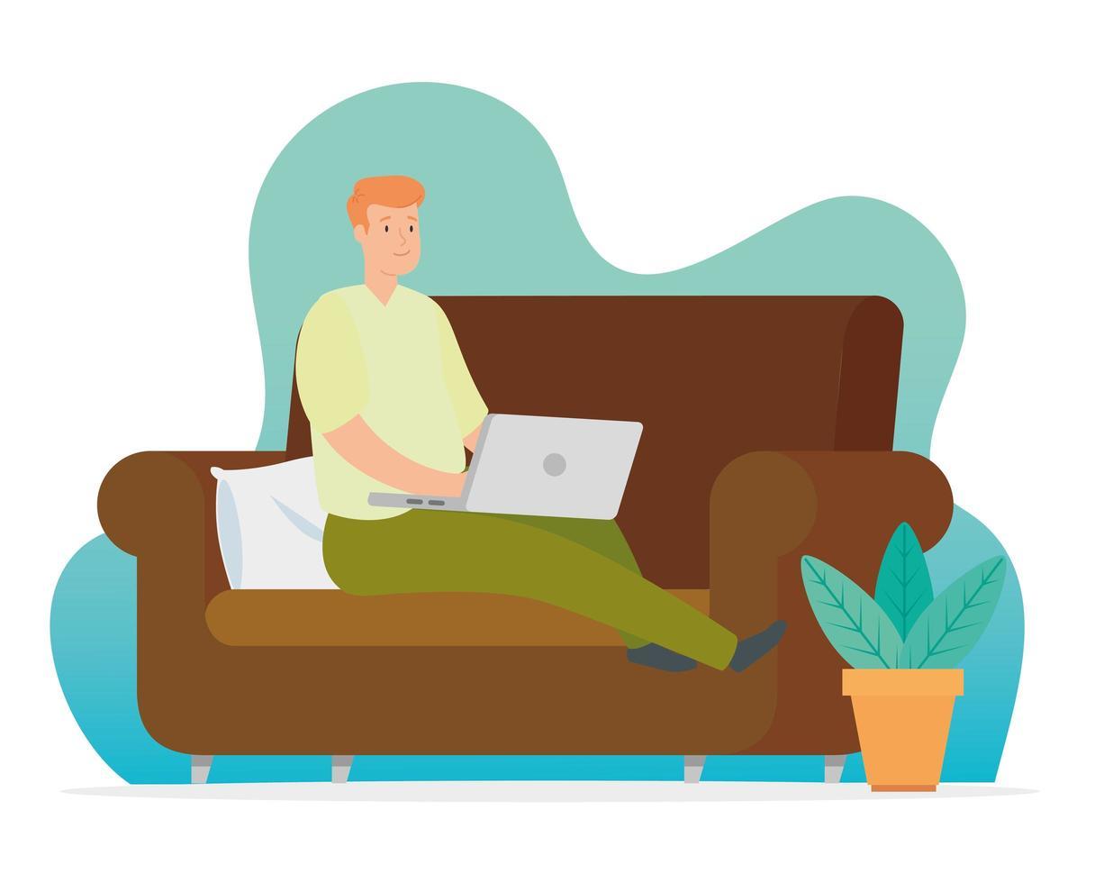 Mann arbeitet zu Hause mit Laptop auf der Couch vektor