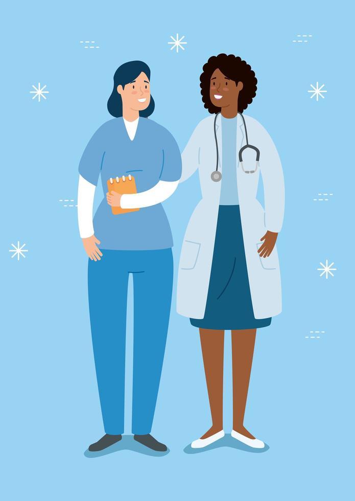 Arzt und Krankenschwester Avatar Charakter vektor