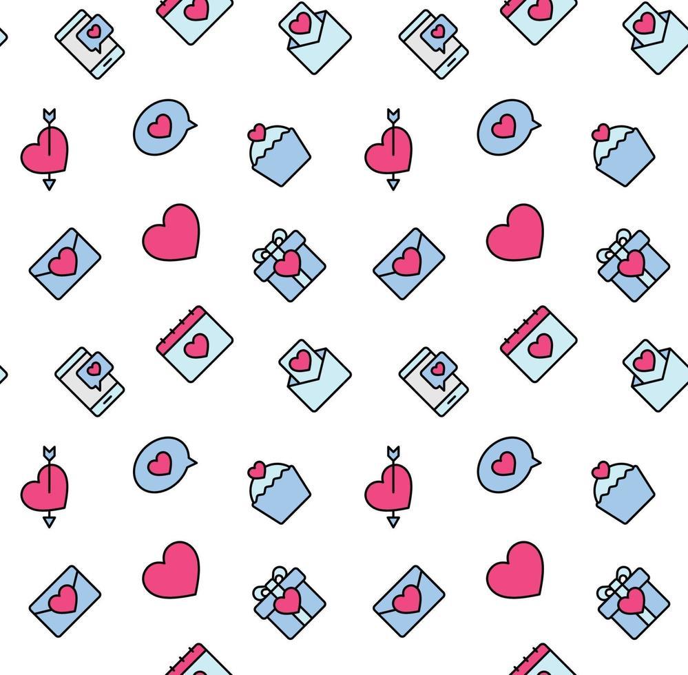 Valentinstag Muster nahtlos mit Herzen und Valentinstag Symbol. verwendet für Textil, Stoff, Hintergrund. vektor
