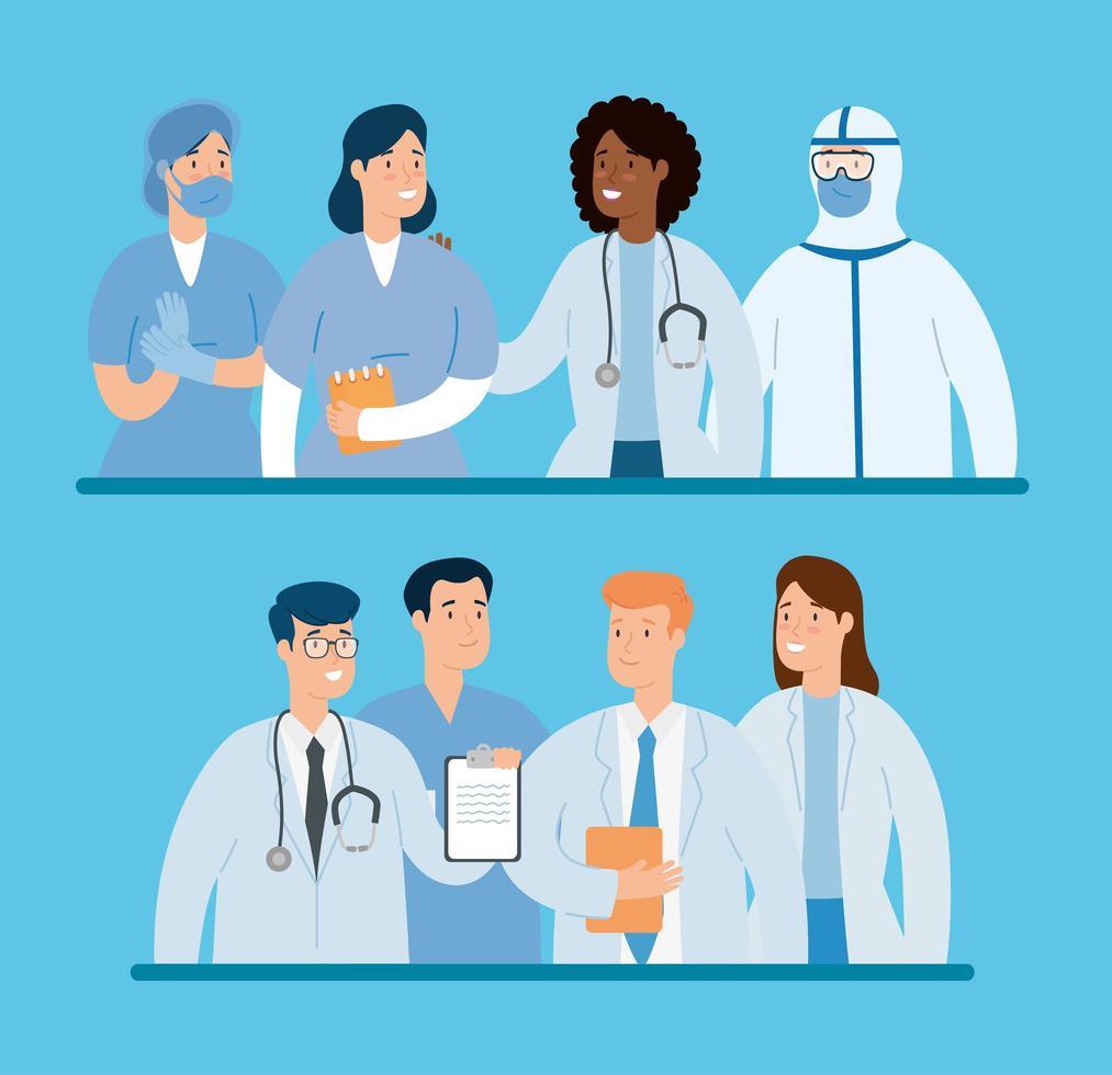 grupp läkare som bekämpar koronavirus vektor