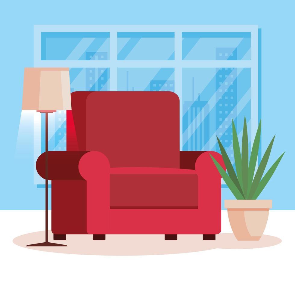 Wohnzimmer zu Hause mit Couch vektor