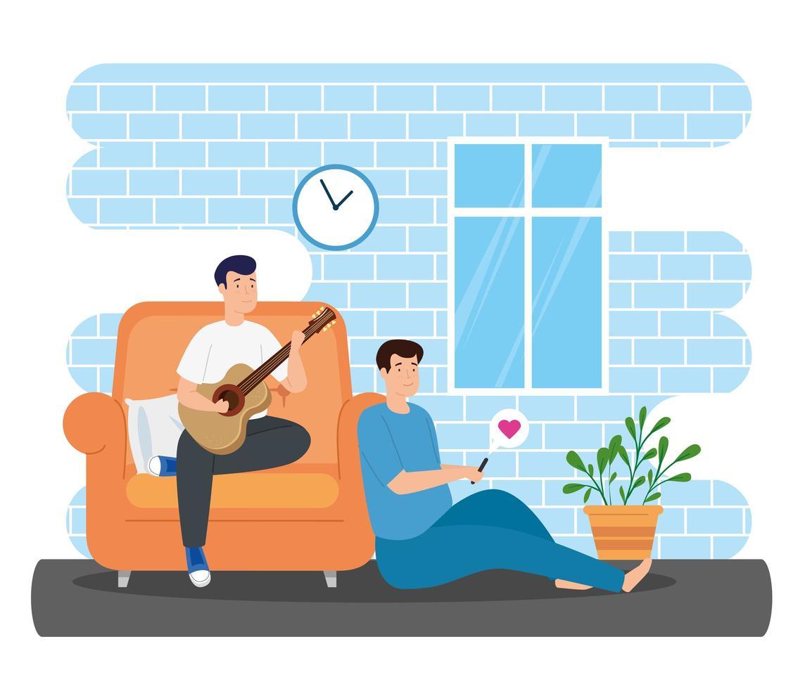 Kampagne bleiben zu Hause mit Männern im Wohnzimmer vektor