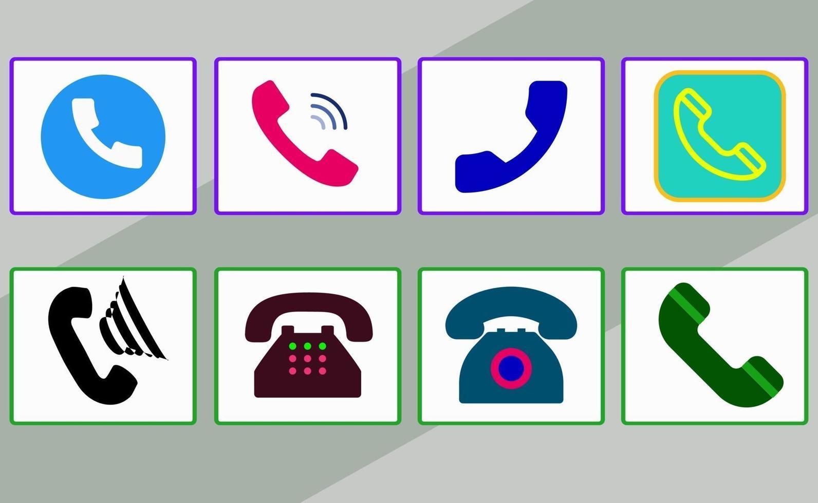Satz bunte Symbole des Telefons mit verschiedenen Stilen vektor