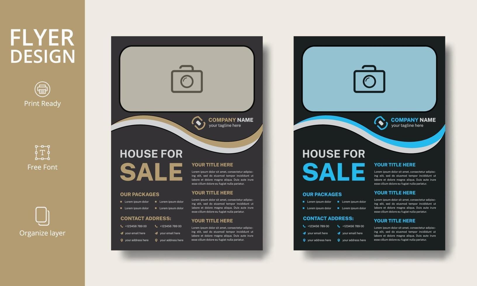 moderne Immobilienwerbung blau und ocker Flyer Design-Vorlage, a4 Größe mit Anschnitt, druckbereit, editierbar vektor