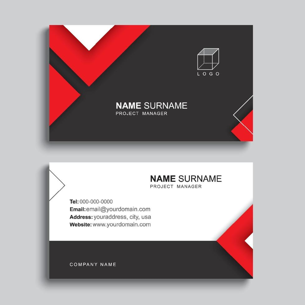 minimales Visitenkarten-Druckschablonendesign. schwarze und rote Farbe einfaches sauberes Layout. vektor