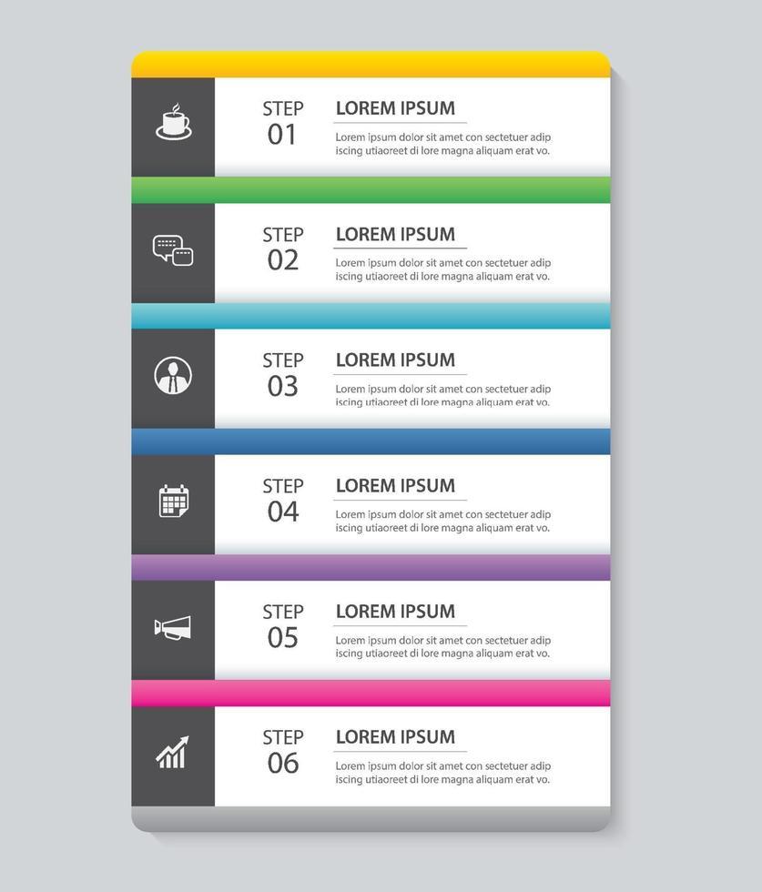 6 Dateninfografiken Registerkarte Papier Indexvorlage. abstrakter Hintergrund der Vektorillustration. kann für Workflow-Layout, Geschäftsschritt, Banner, Webdesign verwendet werden. vektor