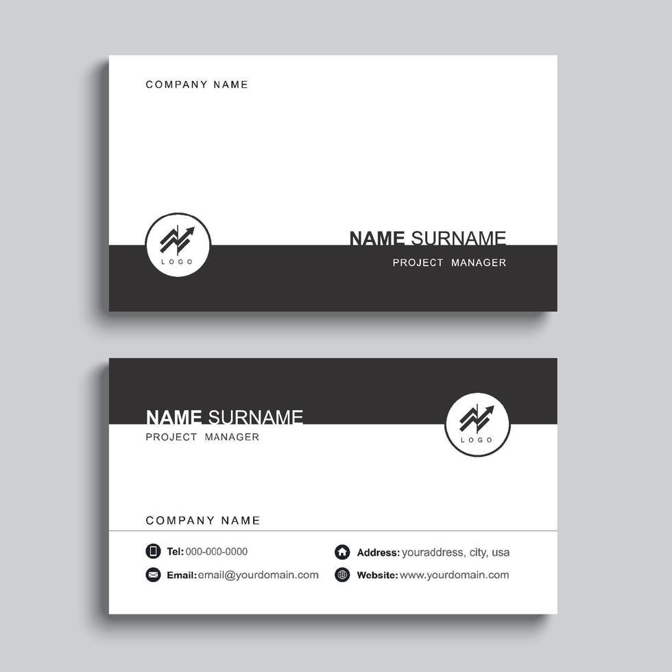 minimales Visitenkarten-Druckschablonendesign. schwarze Farbe und einfaches, sauberes Layout. vektor