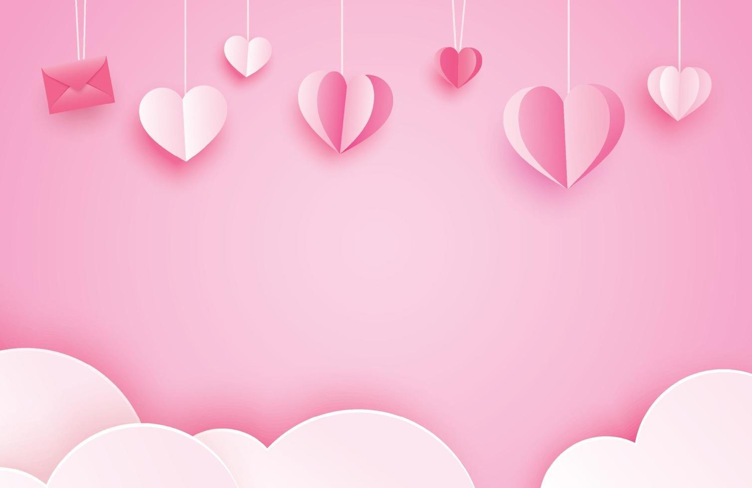 glückliche Valentinstaggrußkarten mit Papierherzen, die auf rosa Pastellhintergrund hängen. vektor