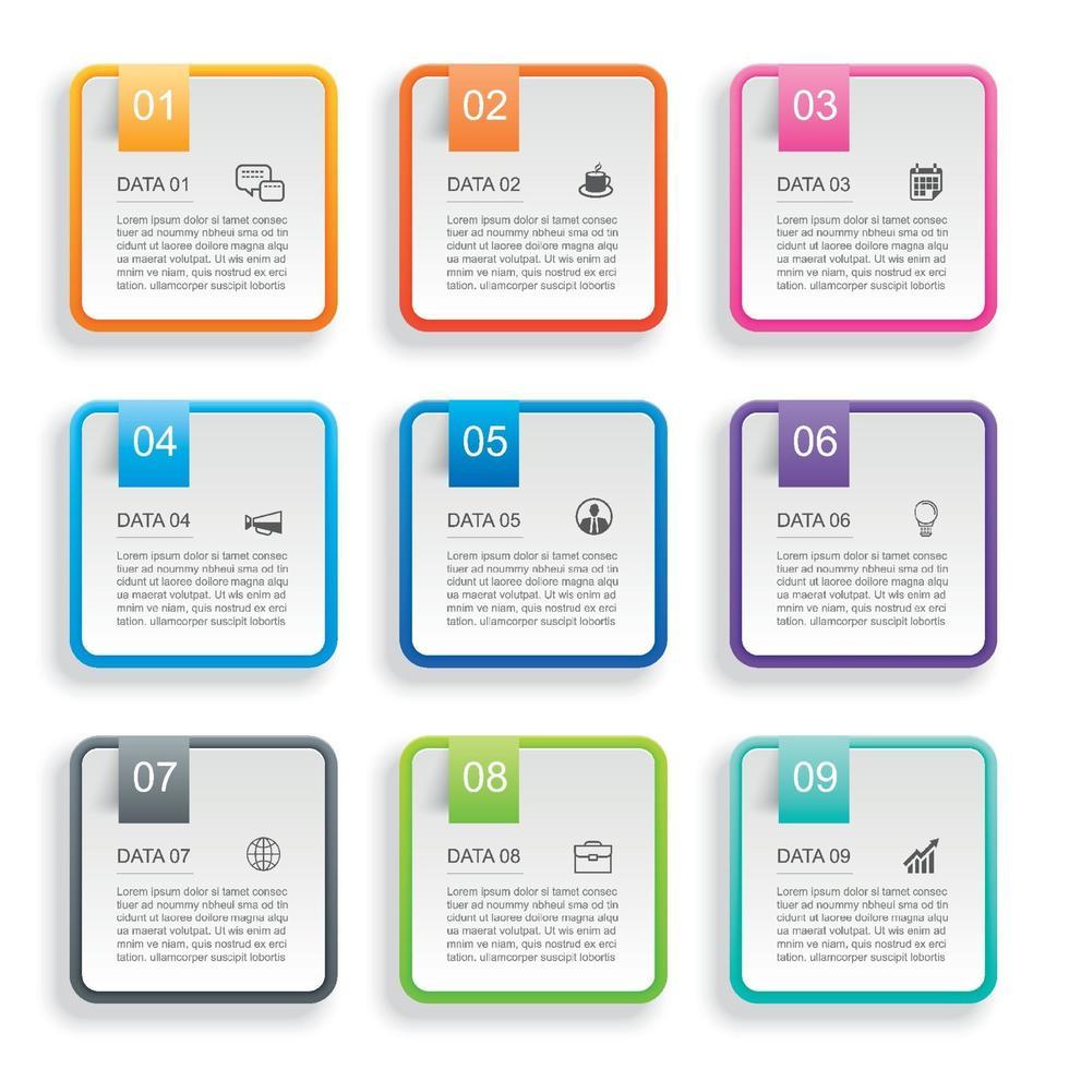 Infografiken Rechteck Papier Index mit 9 Datenvorlage. abstrakter Hintergrund der Vektorillustration. kann für Workflow-Layout, Geschäftsschritt, Banner, Webdesign verwendet werden. vektor