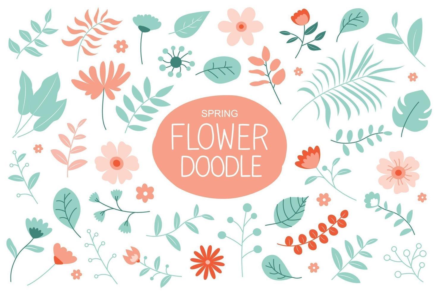 Frühlingsblumen in Pastellfarben. Blumen- und Blattelementkollektion. vektor