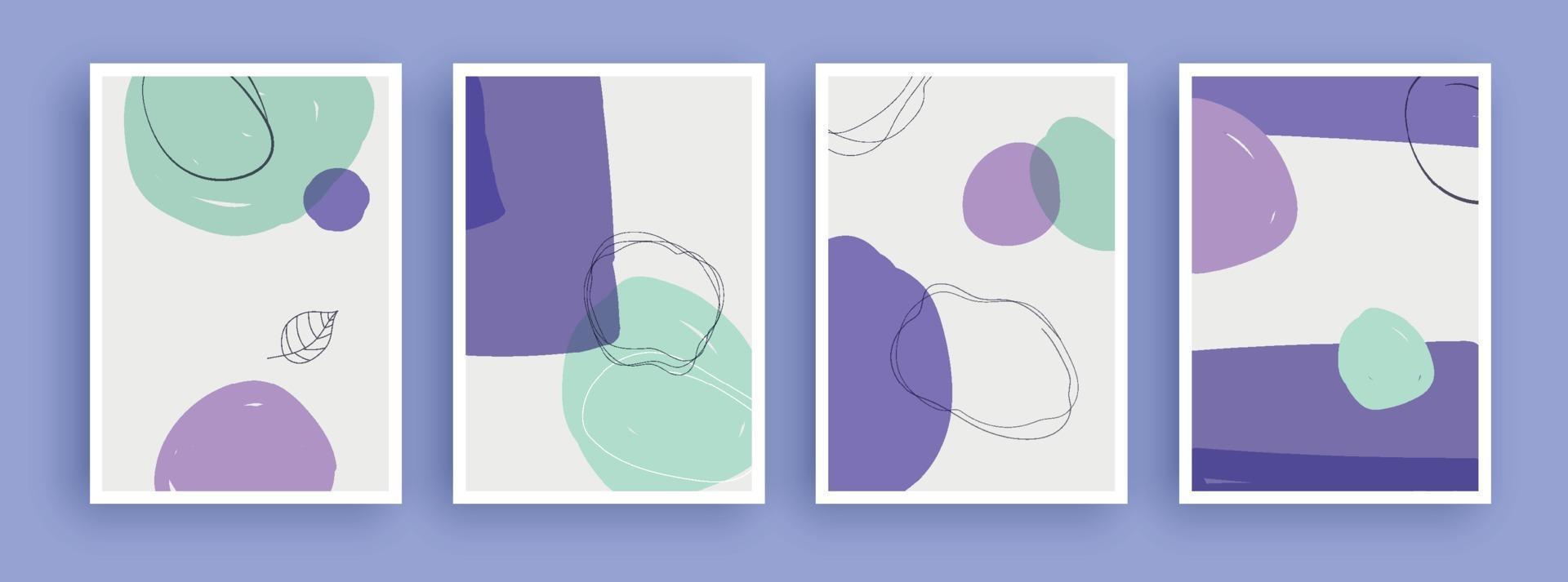 abstrakt konstmålning med pastellfärgad bakgrund. minimalistiska geometriska element och handritad linje. skandinavisk nordisk stil från mitten av århundradet. vektor