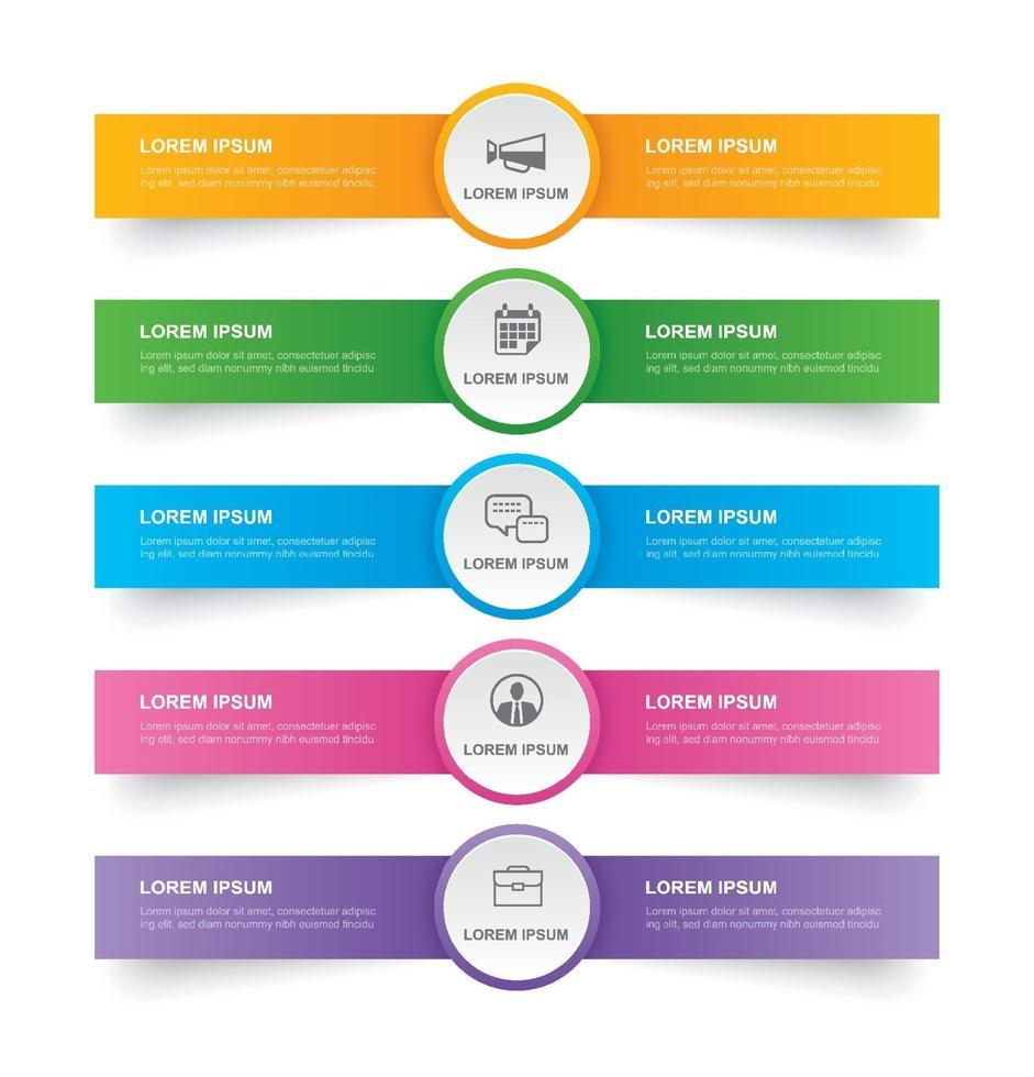 """Registerkarte """"Infografiken"""" im horizontalen Papierindex mit 5 Datenvorlagen. abstrakter Hintergrund der Vektorillustration. kann für Workflow-Layout, Geschäftsschritt, Banner, Webdesign verwendet werden. vektor"""