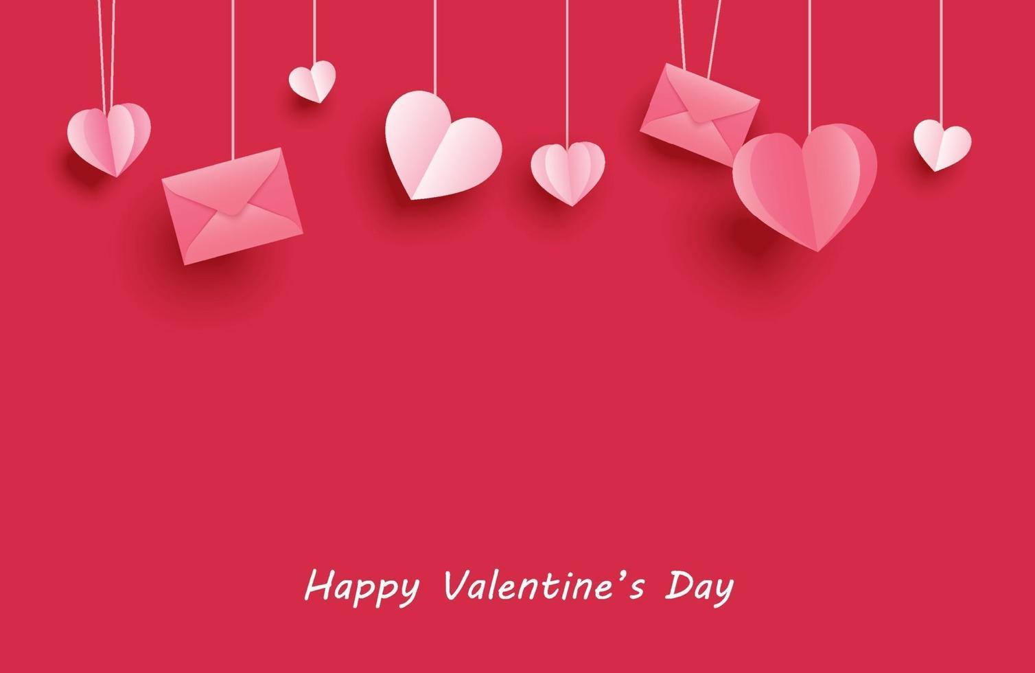 glückliche Valentinstaggrußkarten mit Papierherzen, die auf rotem Pastellhintergrund hängen. vektor