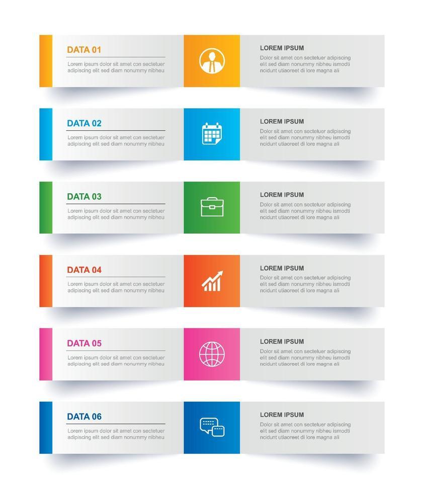 Registerkarte Infografiken im horizontalen Papierindex mit 6 Datenvorlagen. abstrakter Hintergrund der Vektorillustration. kann für Workflow-Layout, Geschäftsschritt, Banner, Webdesign verwendet werden. vektor