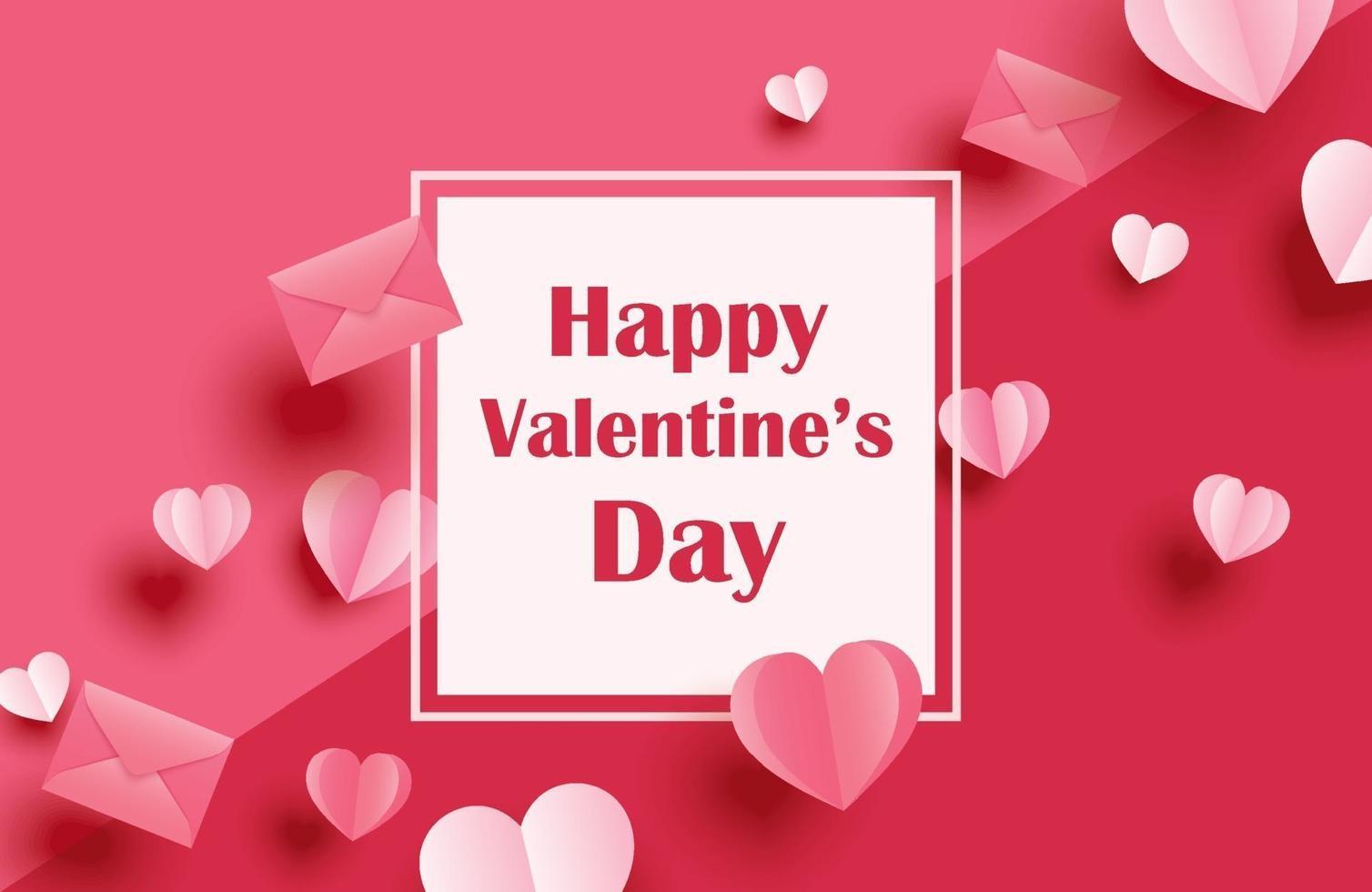 glückliche Valentinstaggrußkarten mit Papierherzen auf rotem Pastellhintergrund. vektor