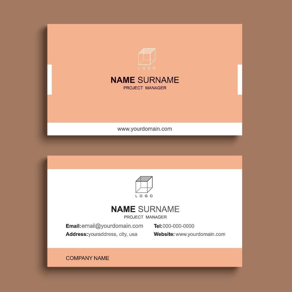 minimal visitkort utskrift mall design. orange pastellfärg och enkel ren layout. vektor